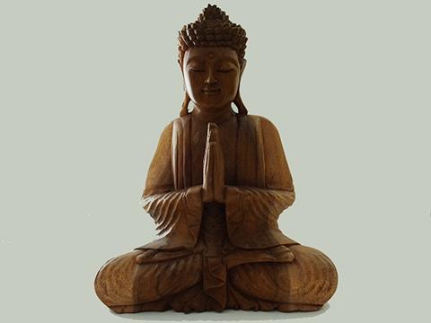 Bouddha Statue En Bois Taillé Mains Position Gassho