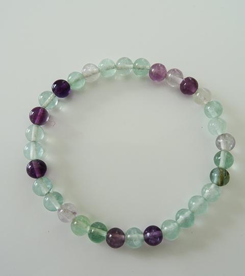 Bracelet En Fluorite Verte Violette
